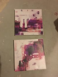 Two white-and-purple abstract paintings Burlington, L7R 4M7