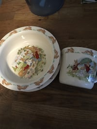 white-and-multicolored floral ceramic plates HAMILTON