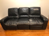 black leather 3-seat sofa Chantilly, 20152