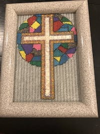 Three catholic or Christian handmade needlepoint images. They already come with the frame. A perfect gift for a loved one. You can place this standing on your desk/nightstand or hang it on a wall. The last three items pictures are three glasses cases&more Melbourne, 32904