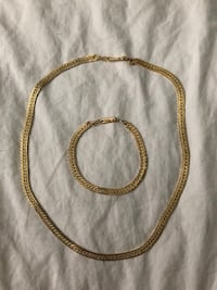 Gold Chain Necklace & Bracelet Unisex Set