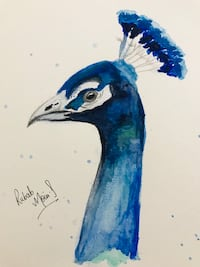 """""""Bird King"""" by Rubab Moin (Painting)"""