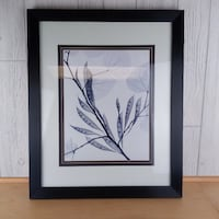 Minimalist Thin Leaf with Seed Pod & Blossom Black White Gray Framed Art Wall Hanging Kohl's Orig $70 Madison
