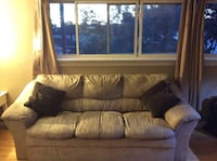 Beige suede 3-seat couch