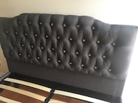 New Grey Upholstered queen bed frame with crystals. Mattress sold separately. Delivery available  Wellington