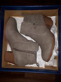 gray suede stacked heel booties with box London