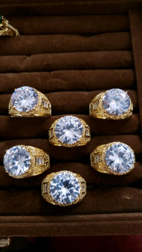 24k REAL GOLD FILL BIG CUT DIMOND CRYSTAL MEN ALL SIZE AVAILABLE