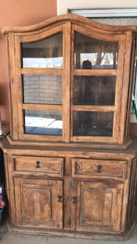 brown wooden framed glass display cabinet Indio, 92201