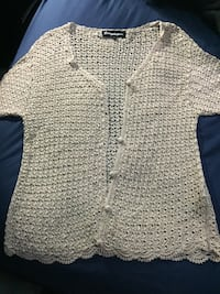 Beautiful crochet with pearls woman's top