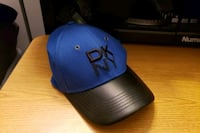 blue and black leather DKNY one size fits all cap Monsey, 10952