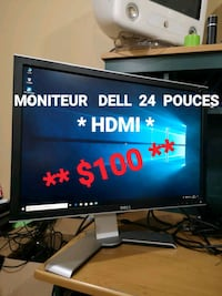 black flat screen TV with remote Laval, H7T 2E6