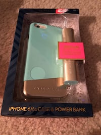 Gold and green iPhone case and powerbank