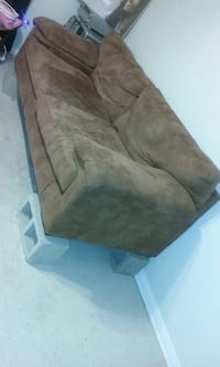 Brown suede couch