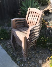 Plastic stacking outdoor chairs (6)