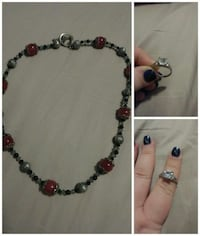 silver-colored and red beaded necklace with silver-colored ring collage Gardner, 60424