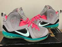"""Lebron 9 """"South Beach"""" 10.5  Sterling, 20164"""