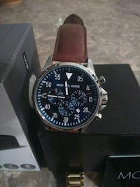 round silver chronograph watch with brown leather strap Lawrenceville, 30043