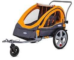 InStep Sierra Double Seat Foldable Tow Behind Bike Trailers, Converts to Stroller/Jogger,