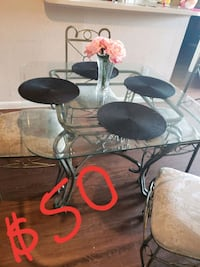 black metal framed glass top table 1199 mi
