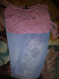blue jeans and pink Bebe clothes