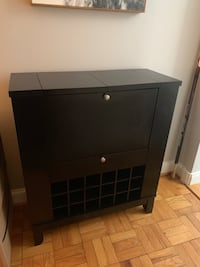 Black wooden single drawer wine bar Arlington, 22204