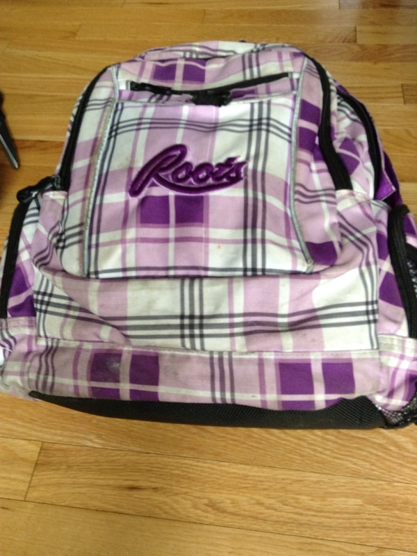 Used pink and white plaid Roots backpack for sale in Lower Sackville - letgo 1af9094a43c63