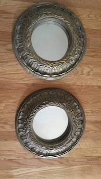 Two round gray wooden framed mirror Brookhaven, 11763