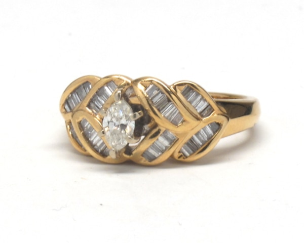 Ladies 14K Marquise Diamond Cocktail Ring