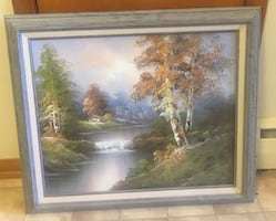 """Tree river house canvas PAINTING  Frame is 25""""x29"""""""