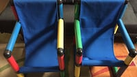 two blue, green, yellow, and red armchairs
