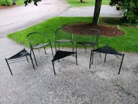 3 out door chairs & 3 stackable tables Cohasset