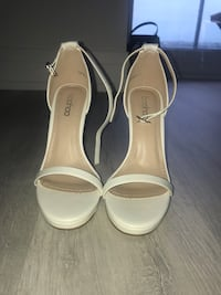 pair of white leather open-toe ankle strap heels Vaughan, L4L