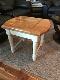 Square white and brown wooden coffee table. LaGrange, 30241