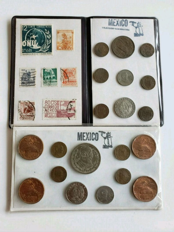 Lot of Vintage Mexican Coin Sets w/ 1 Silver coin