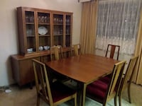 rectangular brown wooden table with four chairs dining set Ajax, L1T
