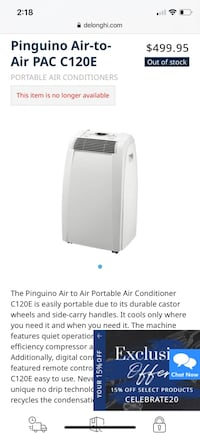 DēLonghi portable AC unit North Las Vegas, 89031