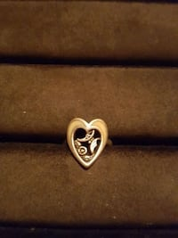 Sterling silver heart ring with butterfly on flowe