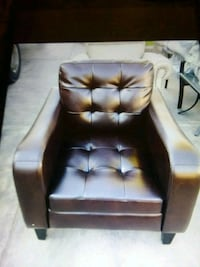 tufted black leather sofa chair Colton, 92324