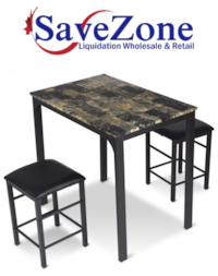 3 pcs Kitchen Counter Height Faux Marble Table 2 Chairs Set- Check all pics Mississauga