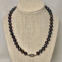 Authentic Tahitian Black Pearl Necklace with Sterling Silver Clasp Ashburn, 20147