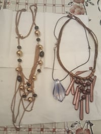 two brown beaded necklaces