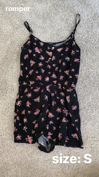 Black and pink floral sleeveless romper- size s Severn, 21144