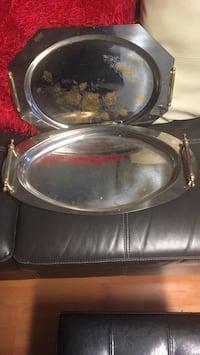 2 Stainless steel serving platters made in Italy
