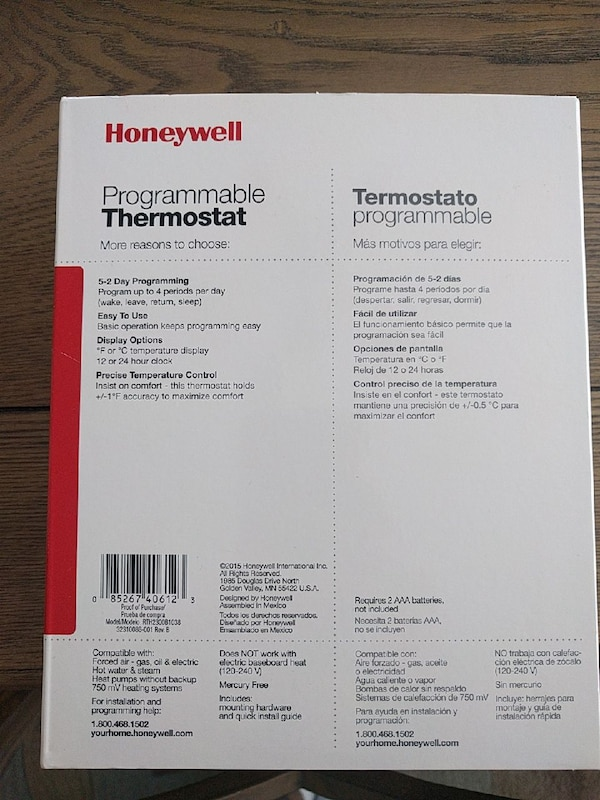 Honeywell programmable thermostat 1