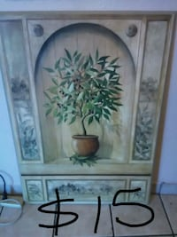 brown wood-framed green leaf plant with pot painting Delhi, 95315
