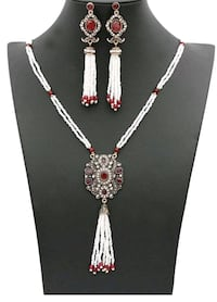 silver and red gemstone necklace Vancouver, V5Z 4H4