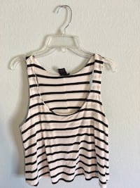 Black and white striped scoop-neck sleeveless crop top Frisco, 75035
