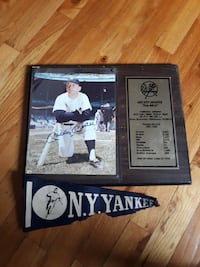 mickey mantle plaque with old pennant ny yankees