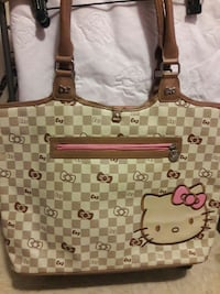 beige and brown Hello Kitty tote bag