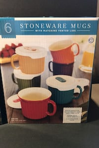 New- Stone Ware Mugs with Matching Vented Lids 6 in a box